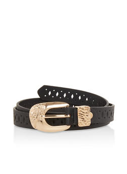 Laser Cut Faux Leather Belt - 1128074500151