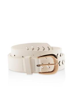Chevron Laser Cut Faux Leather Belt - White - Size M - 1128074500235