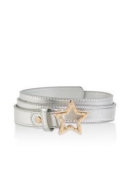 Star Buckle Faux Leather Belt - 1128074500311