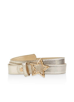 Star Buckle Faux Leather Belt - 1128074500311