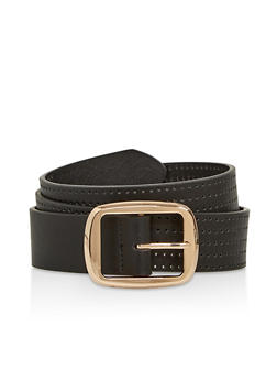 Metallic Buckle Perforated Faux Leather Belt - 1128074500321