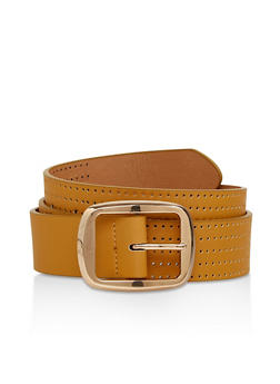 Perforated Faux Leather Belt - 1128074500321