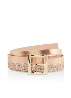 Plus Size Glitter Faux Leather Belt - 1128074500406