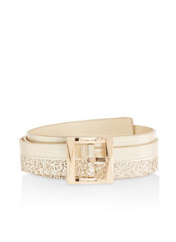Plus Size Glitter Faux Leather Belt - 1128074500406