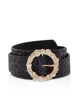 Glitter Rhinestone Buckle Belt - 1128074500410