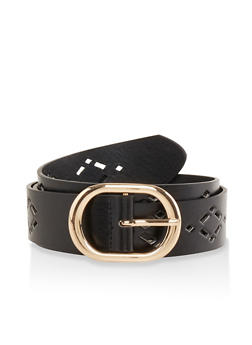 Laser Cut Faux Leather Belt - 1128074500807