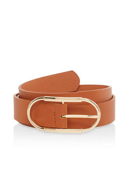Oval Buckle Faux Leather Belt - 1128074500842