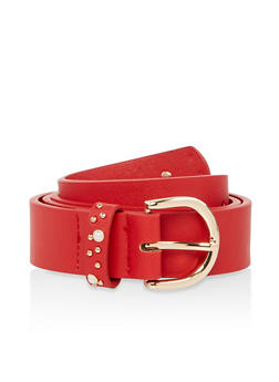 Faux Pearl Studded Detail Belt - 1128074500854