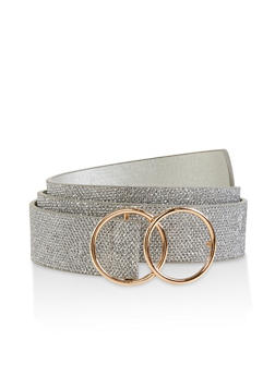 Double O Ring Buckle Glitter Belt - 1128074500882