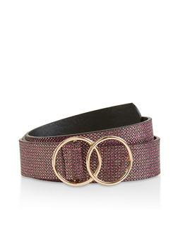 Double O Ring Buckle Glitter Belt - 1128074500882