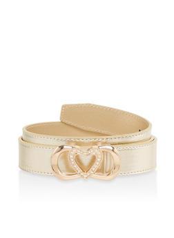 Rhinestone Heart Buckle Faux Leather Belt - 1128074501108