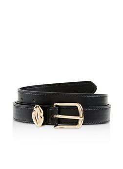Rhinestone Lip Buckle Faux Leather Skinny Belt - 1128074501175