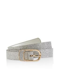 Metallic Buckle Glitter Belt - 1128074501725