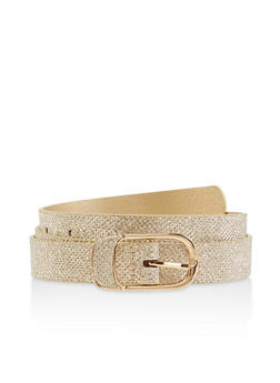 Metallic Buckle Glitter Belt - 1128074501725