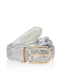 Plus Size Faux Leather Glitter Belt - 1128074501802