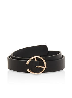 Open Buckle Faux Leather Belt - 1128074502856