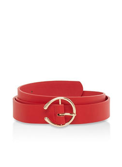 Open Buckle Faux Leather Belt - Red - Size M - 1128074502856