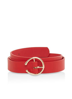Plus Size Circular Buckle Faux Leather Belt - 1128074502857