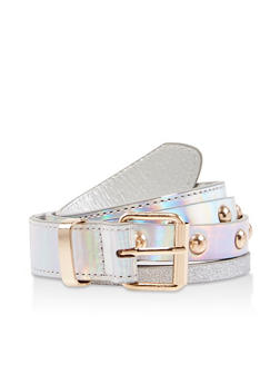 Glitter Trim Studded Belt - 1128074504052