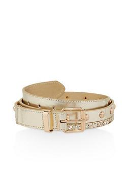 Glitter Trim Studded Belt - 1128074504052