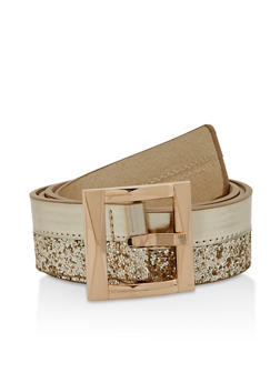 Glitter and Faux Leather Belt - 1128074504064