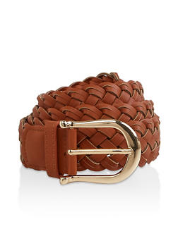 Plus Size Woven Faux Leather Belt - 1128074504400