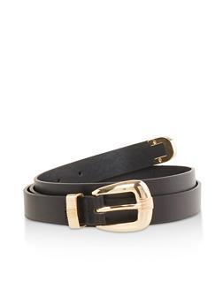 Plus Size Faux Leather Skinny Belt - 1128074506000