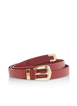 Plus Size Faux Leather Skinny Belt - 1128074506000