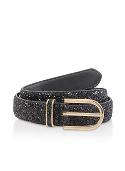 Glitter Faux Leather Belt - 1128074508027