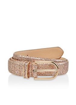 Glitter Faux Leather Belt - 1128074508027