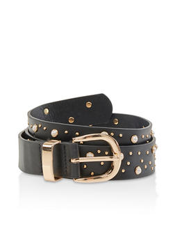 Studded Faux Leather Belt - 1128074508042
