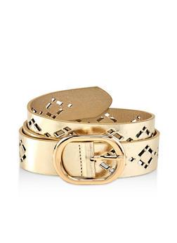 Plus Size Diamond Laser Cut Faux Leather Belt - 1128074508070