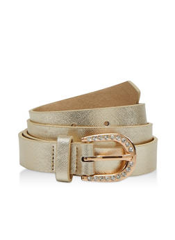 Rhinestone Buckle Faux Leather Belt - 1128075471130