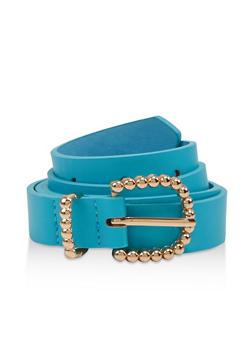 Textured Metallic Buckle Skinny Belt - 1128075471350