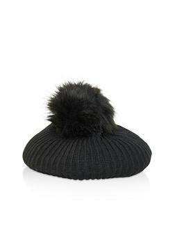 Pom Pom Knit Beret - BLACK - 1129067444815