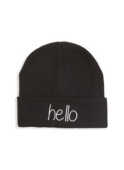 Hello Embroidered Beanie - 1129067444819