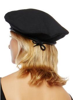 Faux Leather Trim Beret - 1129067448011