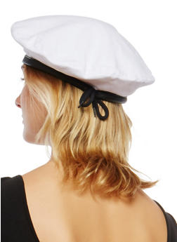 Faux Leather Trim Beret - 1129067448011