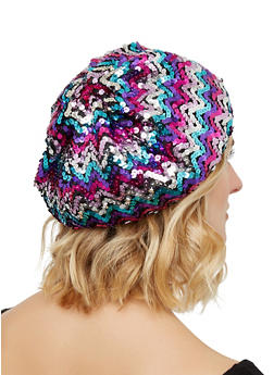 Sequined Beret - MULTI COLOR - 1129067448023