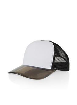 Plastic Brim Snapback Trucker Hat - WHITE - 1129067449011