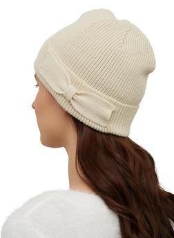 Bow Detail Knit Beanie - 1129071211804