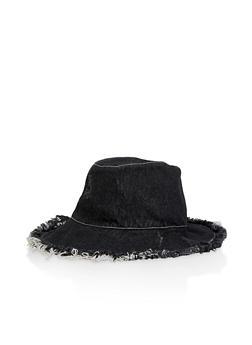 Frayed Denim Bucket Hat - 1129071216067