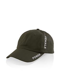 Female Power Embroidered Baseball Cap - OLIVE - 1129074391217
