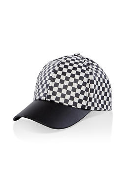 Checkered Faux Leather Baseball Cap - 1129074392786