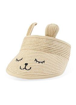 Embroidered Rabbit Straw Visor - 1129074395412