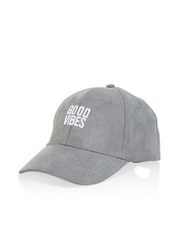 Good Vibes Faux Suede Baseball Cap - 1129074505009