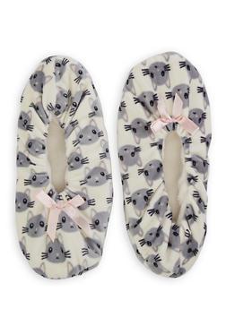 Animal Print Fuzzy Slippers - IVORY - 1130055320128