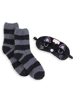 Plush Socks and Animal Sleep Mask Set - BLACK - 1130055321130