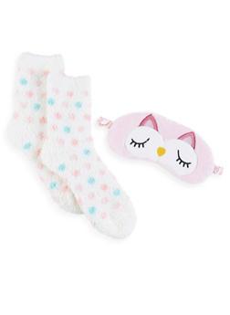 Plush Socks and Animal Sleep Mask Set - 1130055321130