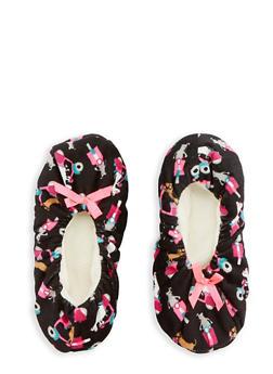 Printed Fuzzy Slipper Socks - BLACK - 1130055321968